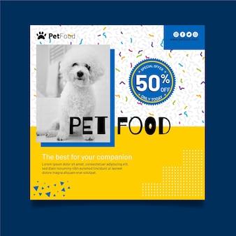 Szablon ulotki kwadratowej żywności dla zwierząt