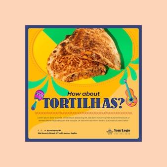 Szablon ulotki kwadratowej żywności meksykańskiej