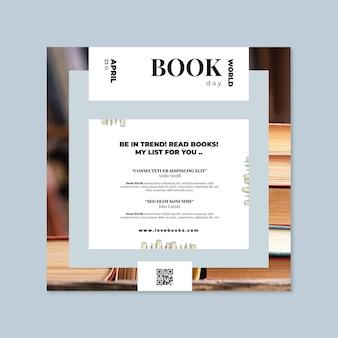 Szablon ulotki kwadratowy dzień książki