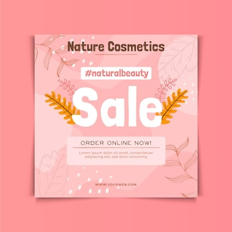 Szablon ulotki kwadratowych kosmetyków naturalnych