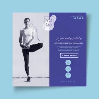 Szablon ulotki kwadratowych zajęć jogi