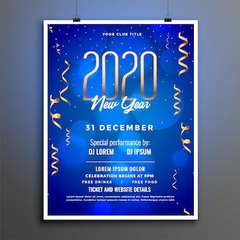Szablon ulotki lub plakatu strony nowego roku 2020