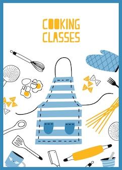 Szablon ulotki lub plakatu z przyborami kuchennymi, narzędziami i sprzętem do przygotowywania posiłków. kolorowa ilustracja w stylu płaski do szkoły gotowania, zajęć lub lekcji, reklama, promocja.