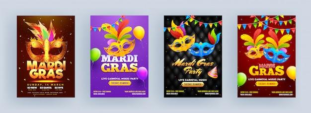 Szablon ulotki mardi gras party z maską karnawałową, czapką i balonami.