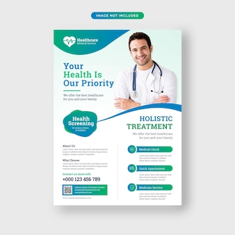 Szablon ulotki medycznej opieki zdrowotnej premium wektorów