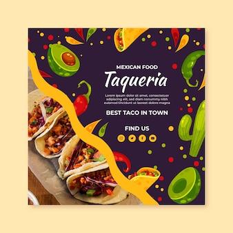 Szablon ulotki meksykańskie jedzenie do kwadratu
