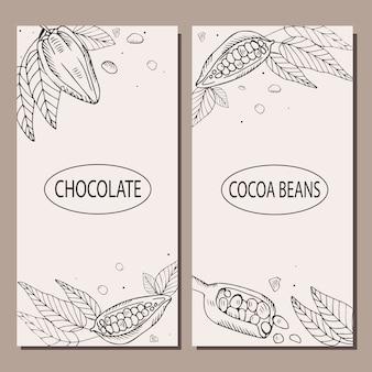 Szablon ulotki, menu, baner z ziarnami kakaowymi. koncepcja czekolady. . ilustracja styl grawerowany.
