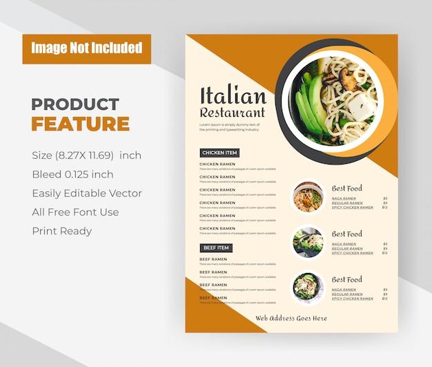 Szablon ulotki menu włoskiej restauracji żywności.