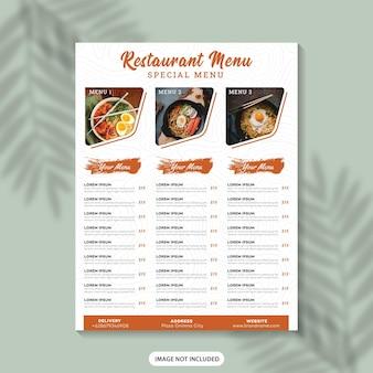 Szablon ulotki menu żywności menu restauracji menu żywności plakat menu fast food szablon projektu menu