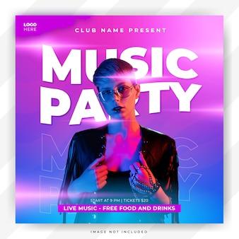 Szablon ulotki na imprezę muzyczną i szablon banera mediów społecznościowych