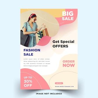 Szablon ulotki na sprzedaż mody o minimalistycznym designie