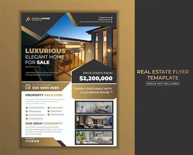 Szablon ulotki nieruchomości dla luksusowego eleganckiego domu premium vector