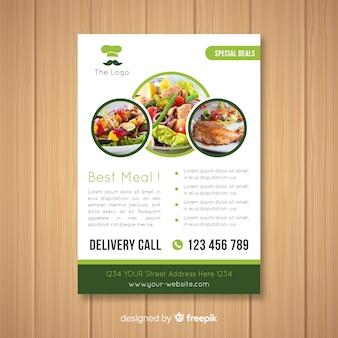 Szablon ulotki nowoczesne zdrowa restauracja