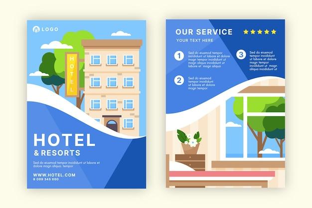 Szablon ulotki nowoczesny hotel z ilustracją