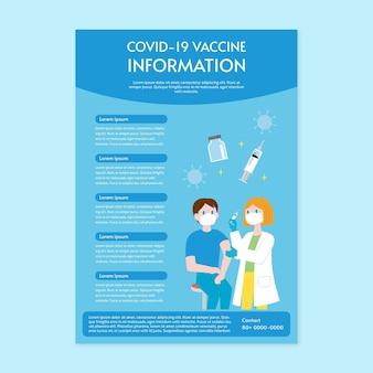 Szablon ulotki o płaskiej konstrukcji szczepień przeciwko koronawirusowi