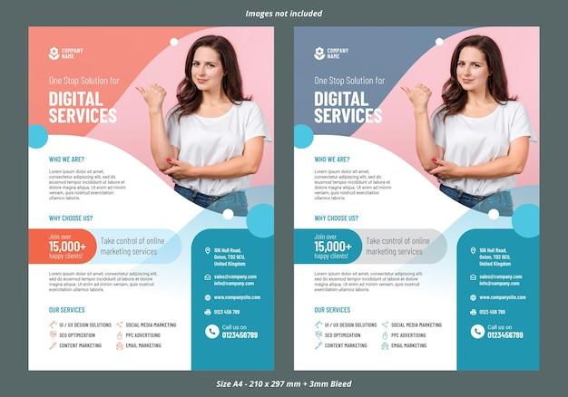 Szablon ulotki o usługach marketingu cyfrowego