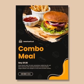 Szablon ulotki pionowej amerykańskiego posiłku combo