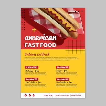 Szablon ulotki pionowej amerykańskiej żywności