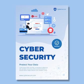 Szablon ulotki pionowej dotyczącej bezpieczeństwa cybernetycznego