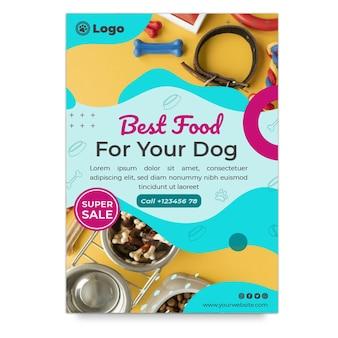 Szablon ulotki pionowej karmy dla psów z ofertą