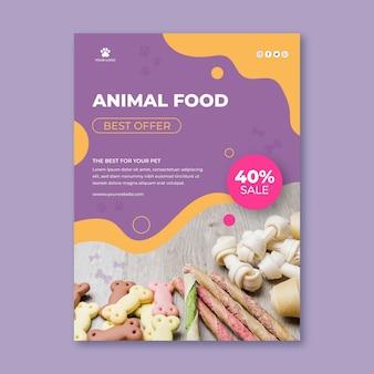 Szablon ulotki pionowej karmy dla zwierząt