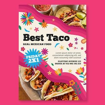 Szablon ulotki pionowej kuchni meksykańskiej