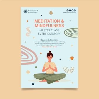 Szablon ulotki pionowej medytacji i uważności