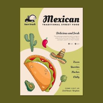 Szablon ulotki pionowej meksykańskiej żywności
