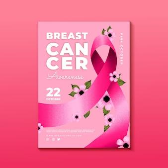 Szablon ulotki pionowej miesiąca świadomości raka piersi w akwareli