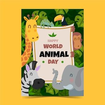 Szablon ulotki pionowej płaskiego światowego dnia zwierząt
