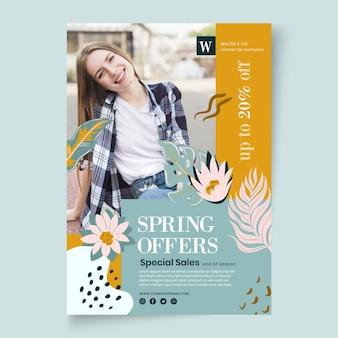 Szablon ulotki pionowej płaskiej wiosny