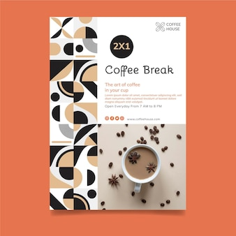 Szablon ulotki pionowej przerwy na kawę