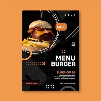 Szablon ulotki pionowej restauracji hamburgery