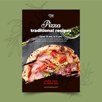 Szablon ulotki pionowej restauracji pizzy