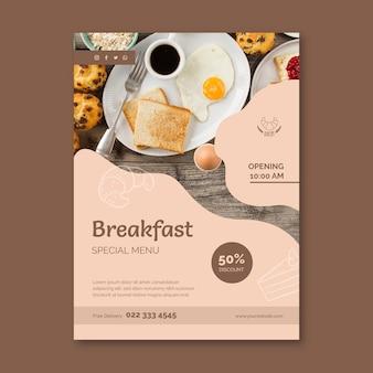 Szablon ulotki pionowej restauracji śniadaniowej