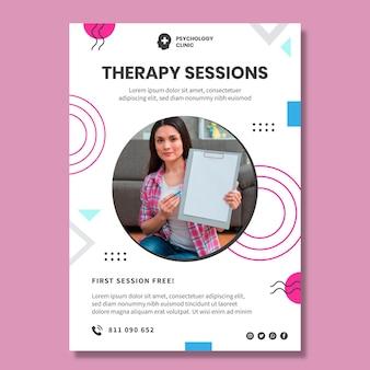 Szablon ulotki pionowej sesji terapeutycznych