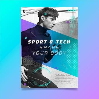 Szablon ulotki pionowej sportu i technologii
