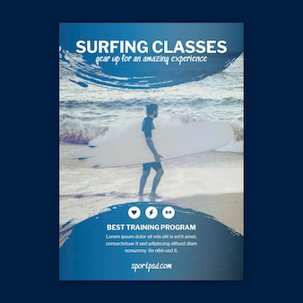 Szablon ulotki pionowej surfingu