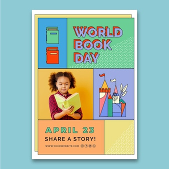 Szablon ulotki pionowej światowego dnia książki