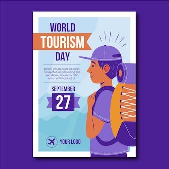 Szablon ulotki pionowej światowego dnia turystyki