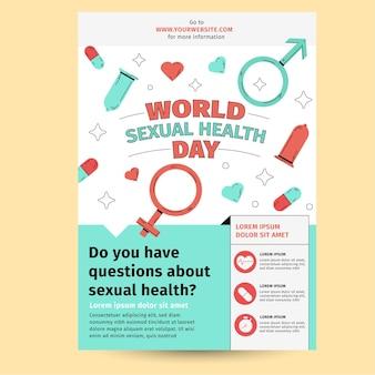 Szablon ulotki pionowej światowego dnia zdrowia seksualnego