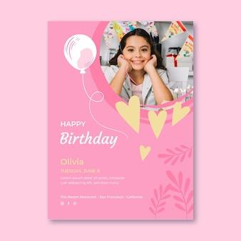 Szablon ulotki pionowej uroczystości urodzinowe
