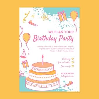 Szablon ulotki pionowej urodziny dla dzieci