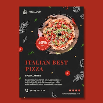 Szablon ulotki pionowej włoskiej żywności