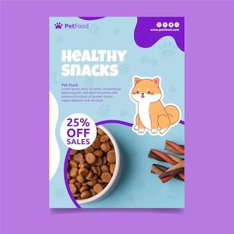 Szablon ulotki pionowej z jedzeniem dla zwierząt