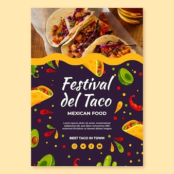 Szablon ulotki pionowej żywności meksykańskiej