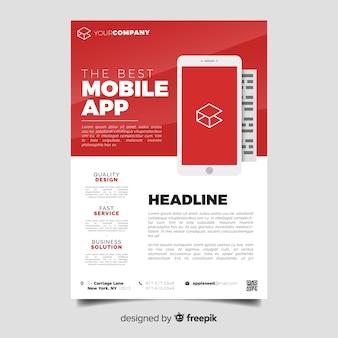 Szablon ulotki płaska aplikacja mobilna