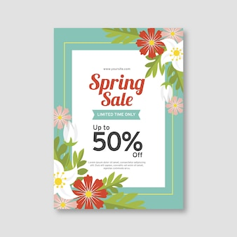 Szablon ulotki płaski sprzedaż wiosna