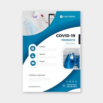 Szablon ulotki produktów medycznych koronawirusa ze zdjęciem