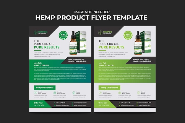 Szablon ulotki produktu konopi lub cbd, projekt ulotki promocyjnej lub sprzedaży produktu cannabis sativa
